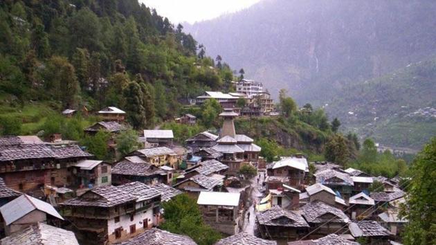 A view of historical village Malana village in Kullu district.(HT PHOTO)