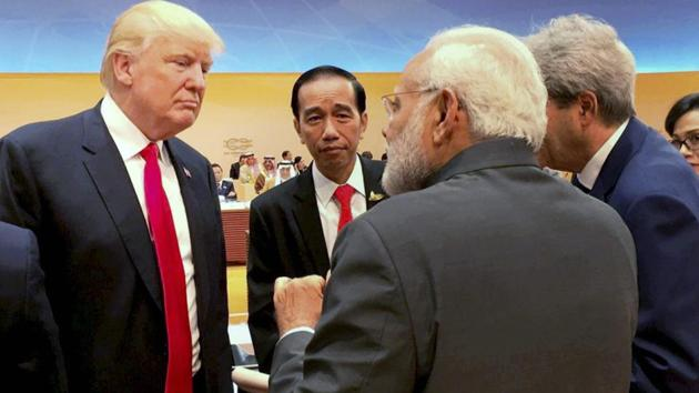 """Prime Minister Narendra Modi meets with US President Donald Trump during the 12th G-20 Summit, in Germany's Hamburg. The US says the exercises had """"grown in scope and complexity over the years to address the variety of shared threats to maritime security in the Indo-Asia Pacific"""".(PTI)"""