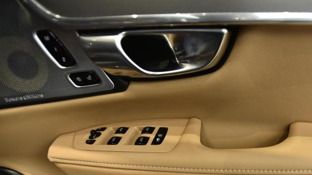 Leather side armrests on the door. The car has 4 types of drives modes - Eco, Comfort, Dynamic and Off road. (Burhaan Kinu/HT PHOTO)