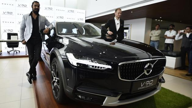 Bollywood actor Randeep Hooda and Volvo auto India MD, Tom Von Bonsdorff during the launch of Volvo V90 Cross Country car at their newly opened showroom on Mathura Road, in New Delhi, India, on Wednesday, July 12, 2017. The V90 Cross Country is a luxury sedan combined with the go-anywhere practically and ride height of an SUV. (Burhaan Kinu/HT PHOTO)