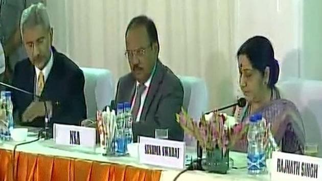 Foreign minister Sushma Swaraj with NSA Ajit Doval (centre) and foreign secretary S Jaishankar at the meeting with opposition parties in New Delhi on Friday.(ANI Photo)