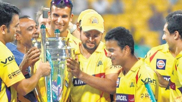 Chennai Super Kings, seen here with the 2014 Champions League T20 trophy, have been one of the most successful T20 teams. CSK will be back in Indian Premier League from 2018.(HT Photo)