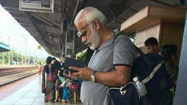 Photo of MP Ramachandran, who looks uncannily similar to PM Narendra Modi, went viral on social media.(Twitter)