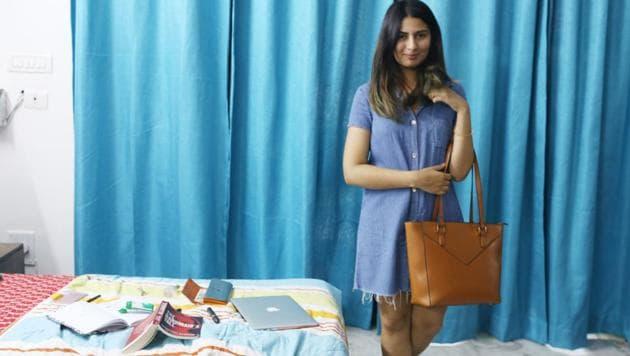Gurmehar Kaur with her 'Only' leather bag.(Mayank Austen Soofi / HT Photo)