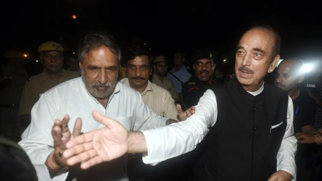 Senior Congress leaders Anand Sharma and Ghulam Nabi Azad after attending an all-party meeting.(Sonu Mehta/HT Photo)