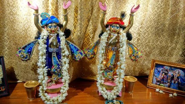Twin idols stolen from Iskcon preaching centre in Greater Noida.(HT Photo)