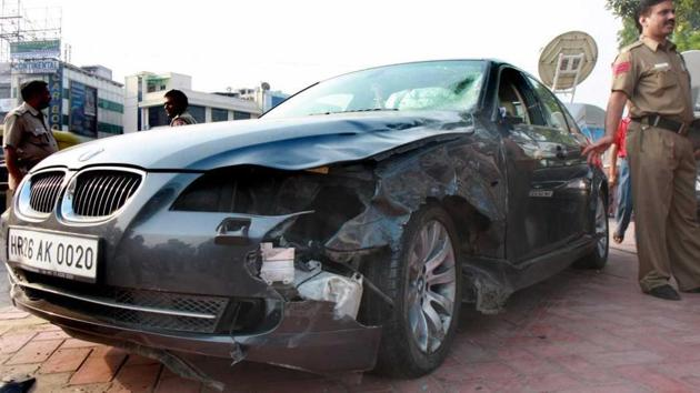 Utsav Bhasin, who was driving his BMW car, had hit two men — Anuj Chauhan and Mrigank Shrivastava — near Moolchand flyover in south Delhi in 2008.(HT File Photo)