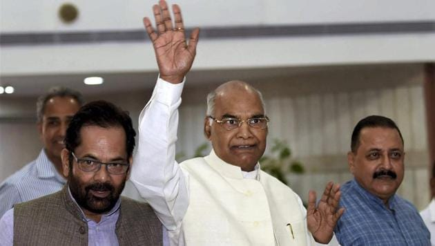 Presidential candidate Ram Nath Kovind arrives for an NDA meeting at Parliament House in New Delhi on Sunday.(PTI)