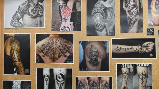 A tattoo studio in Vashi displays various designs. (Bachchan Kumar /HT PHOTO)