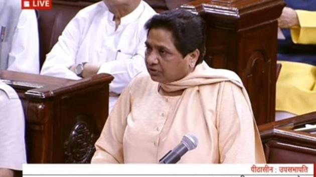 BSP chief Mayawati speaks in the Rajya Sabha on Tuesday.(ANI)