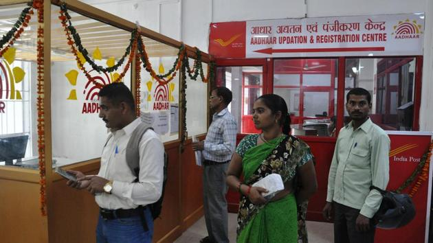 An Aadhaar centre at the Dehradun general post office.(HT file)