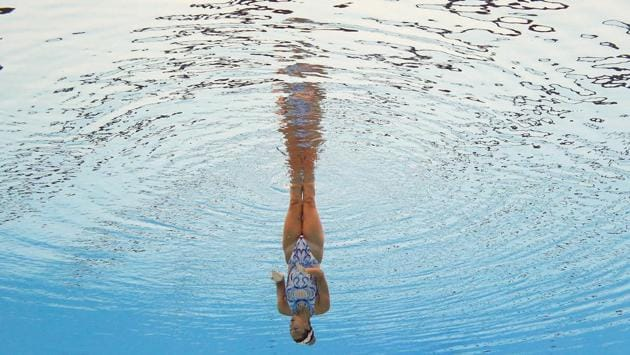 Michelle Zimmer of Germany competes in Solo Technical Women preliminary . (REUTERS)