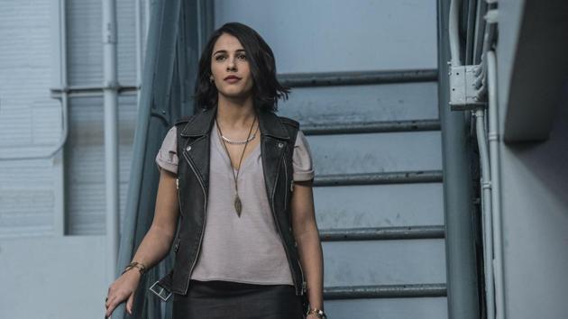 Naomi Scott in a still from Power Rangers.