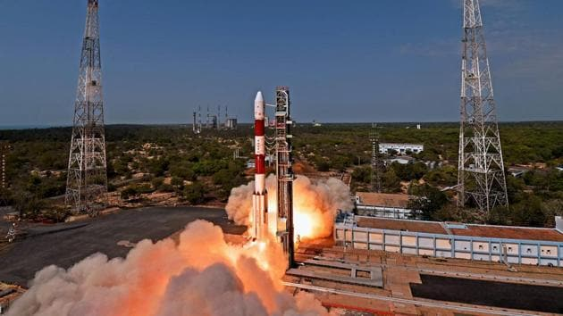 Indian Space Research Organisation (ISRO)'s PSLV C38, carrying earth observation satellite Cartosat-2 Series and 30 co-passenger satellites of various countries, lifts off from Satish Dhawan Space Center in Sriharikota on June 23, 2017. (PTI