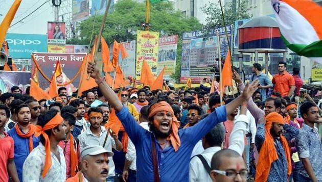 Shiv Sena and Vishwa Hindu Parisad (VHP) activists take part in the procession of Hindu Samrajya Diwas, in Ranchi.(PTI)