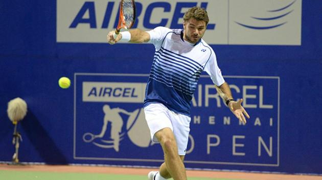 Stan Wawrinka in action during a singles match at the ATP Chennai Open in 2015.(HT file photo)