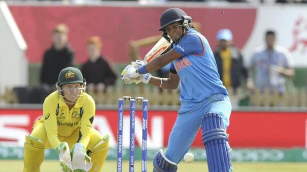 India's Harmanpreet Kaur plays a shot during the ICC Women's World Cup 2017 semifinal match against Australia at County Ground in Derby, England.(AP)