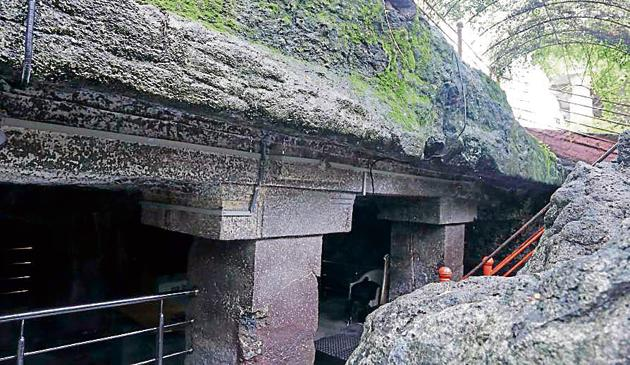Acoording to folklore, the Pandavas lived in the cave during their exile.(HT PHOTO)