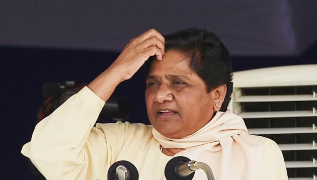 Lucknow: Bahujan Samaj Party (BSP ) supremo Mayawati addressing supporters on the occasion of 126th birth anniversary of Dr B R Ambedkar at Ambedkar Memorial in Lucknow on Friday. PTI Photo by Nand Kumar (PTI4_14_2017_000099B)(PTI)