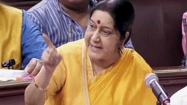 External affairs minister Sushma Swaraj in Rajya Sabha on Thursday.(PTI)
