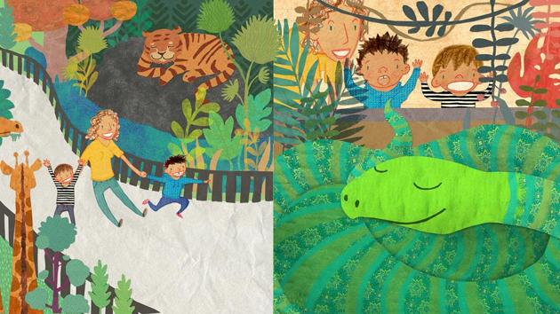 Ayeshe Sadr and Ishaan Dasgupta created a colourful world for Talon Wrestles An Anaconda, a book about a boy who visits the zoo and decides he wants to be like one of the zoo's powerful, mammal-chomping snakes.(Courtesy 211 Studio)