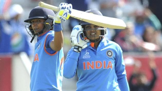 Harmanpreet Kaur celebrates after scoring a century during India vs Australia ICC Women's Cricket World Cup 2017 semifinal in Derby on Thursday.(AP)