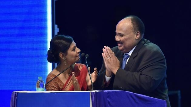 Martin Luther King III , son of Martin Luther King with actor Nandita Das during Dr B R Ambedkar International Conference in Bengaluru on Friday.(Arijit Sen/HT Photo)