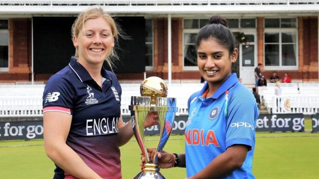 <p>India skipper Mithali Raj and England skipper Heather Knight  pose with the ICC&thinsp;Women&rsquo;s World Cup trophy ahead of the final at Lord&rsquo;s.</p>...