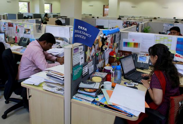 Employees of Tata Consultancy Services (TCS) at the company headquarters in Mumbai. The company is moving out of Lucknow at a time they are setting up new centres in other states.(Reuters File Photo)