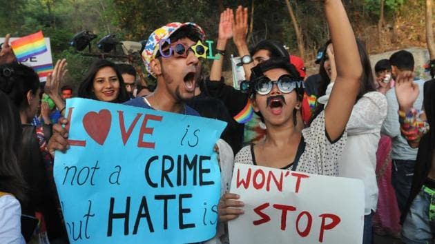 LGBT community members during a pride parade to mark the International Day against Homophobia and Transphobia, in Bhopal on May 17.(HT Photo file photo)
