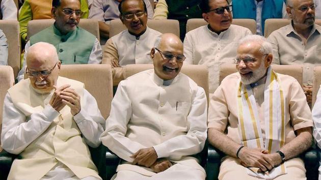 President-elect Ram Nath Kovind with Prime Minister Narendra Modi and senior BJP leader LK Advani in New Delhi, July 16, 2017(PTI)