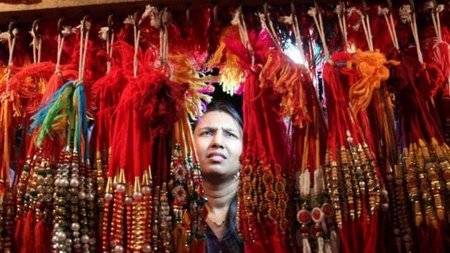 Rakhis on display at a shop in Mumbai.(HT FILE PHOTO)