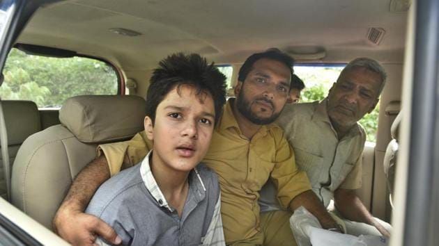 A child who was in the car at the time of the incident. He is among the four survivors of the accident.(Sushil Kumar/HT PHOTO)