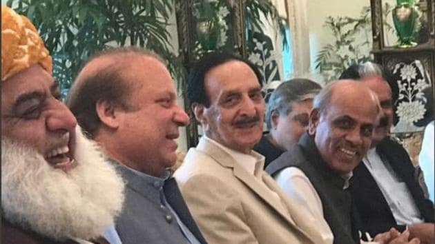 Former Pakistan prime minister Nawaz Sharif (second from left) with leaders of his PML-N party and its allies during a meeting in Islamabad on July 28, 2017.(Twitter)