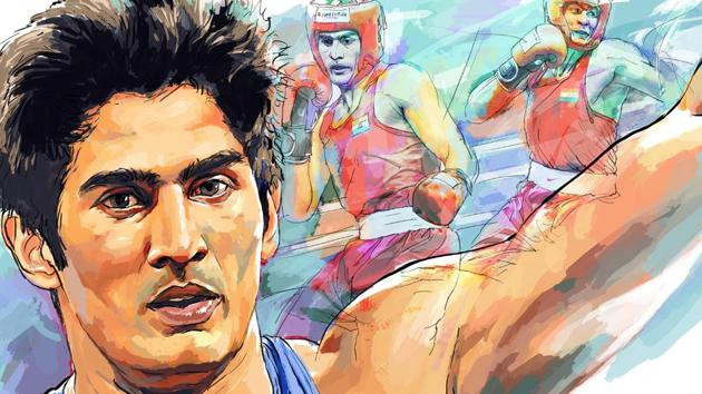 Vijender Singh won a bronze medal in boxing at the 2008 Beijing Olympics. The pugilist now has had a successful career in professional boxing.(Illustration: Malay Karmakar)