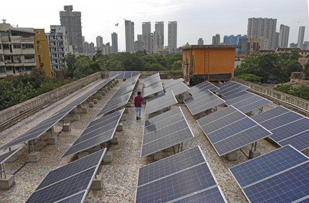 Solar panels installed atop Sheth Motisha Jain Temple in Byculla.(Satyabrata Tripathy)