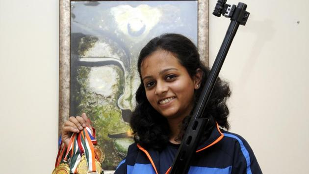 Shooter Shreya Saksena (20) has already won many awards in previous shooting competitions too.(Sunil Ghosh/HT File Photo)