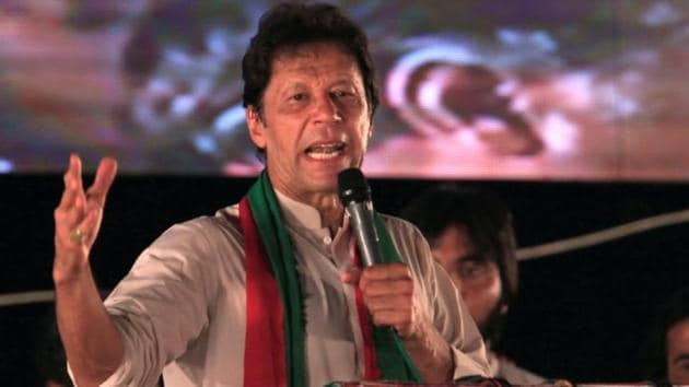 Opposition leader Imran Khan speaks to supporters during a celebration rally after the Supreme Court disqualified Prime Minister Nawaz Sharif in Islamabad on Sunday.(Reuters File Photo)