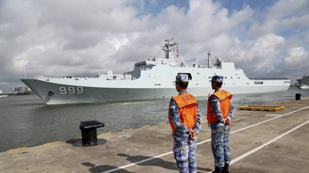 A ship carrying Chinese military personnel departs a port in Zhanjiang, Guangdong Province, China. China on Tuesday dispatched members of its People's Liberation Army to Djibouti to man its first overseas military base(AP)