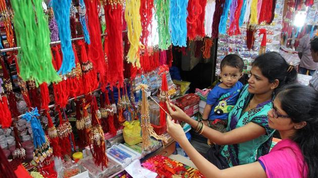 Colorful rakhis displayed in Jamblinaka Market in Thane.(Praful Gangurde/HT Photo)
