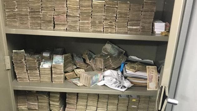 A video from 2016 is being shared on social media sites of from a tax raid at Karnataka energy minister DK Shivakumar's residence.(@shivsunny Twitter)