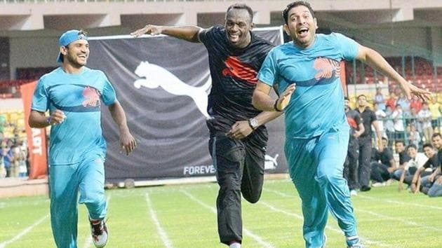 Usain Bolt and Yuvraj Singh competed in a 100 metre race as well as cricket during the Jamaican Olympic champion's visit to Bengaluru. Bolt ran his final 100m solo race at the IAAF World Championships of Athletics in London on Saturday, finishing third. The race was won by Justin Gatlin(HT Photo)
