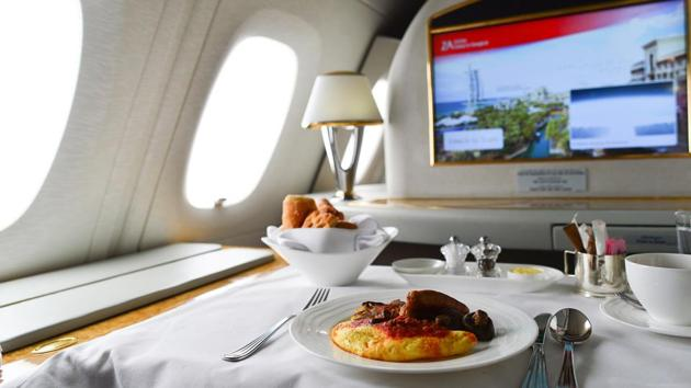 The first-class meal served on board an Emirates flight.
