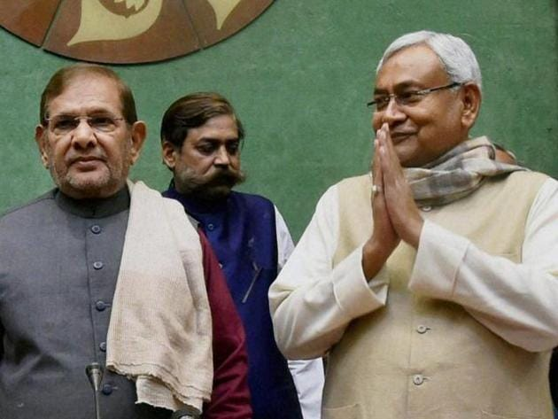 Goodbye time? Sharad and Nitish have been together since Samata Party merged with Janata Dal, in 2003.(PTI file photo)