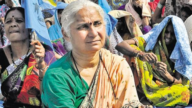 Medha Patkar, 62, and 11 others were forcibly removed from Chikhalda in Dhar district, Madhya Pradesh, on August 7, where they were staging an indefinite fast demanding a proper rehabilitation of Sardar Sarovar Project oustees, and were admitted in different hospitals.(Mujeeb Paruki/ HT Photo)