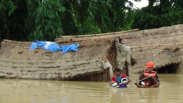 This photograph of floods was released by the Nepali army last year. This year, Jhapa, Morang Sunsari, Sapttari, Siraha, Sarlahi, Rautahat, Banke, Bardiya and Dang districts are the worst affected.(AFP File Photo)