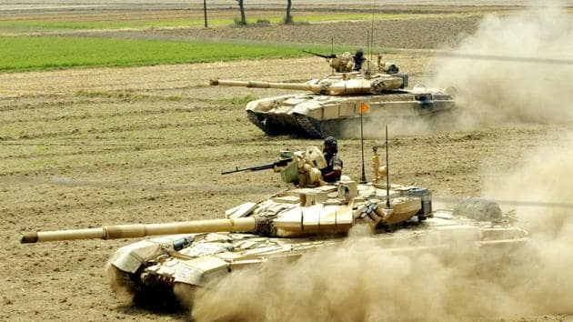 File photograph of T-90-main battle tanks during an exercise in Punjab.(HT Photo)