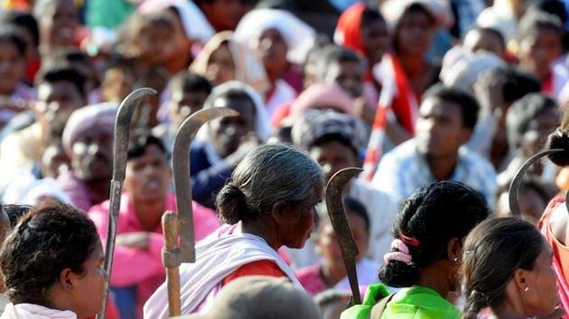 Tribals at the Adivashi Akrosh Maha rally in Ranchi, 2016(Hindustan Times)