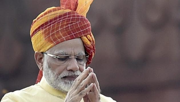 Prime Minister Narendra Modi gestures while addressing the nation during the 71st Independence Day function at the historic Red Fort in Delhi on Tuesday.(PTI)