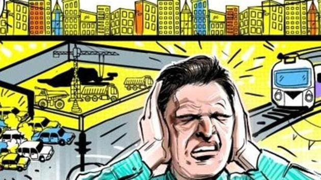 At some places, the noise level was found as high as 130 decibels, when the permissible limit in residential areas can't exceed 55 decibels.(HT File)